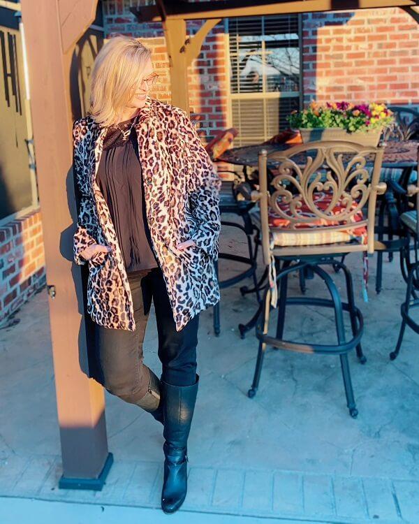 leopard winter coat