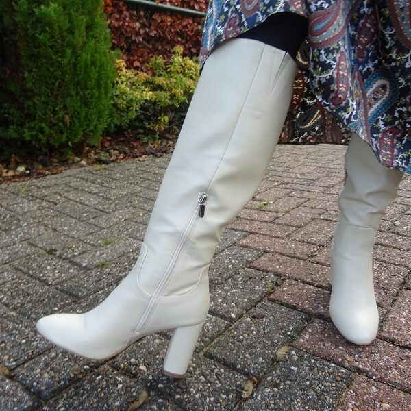 white long boots with heel