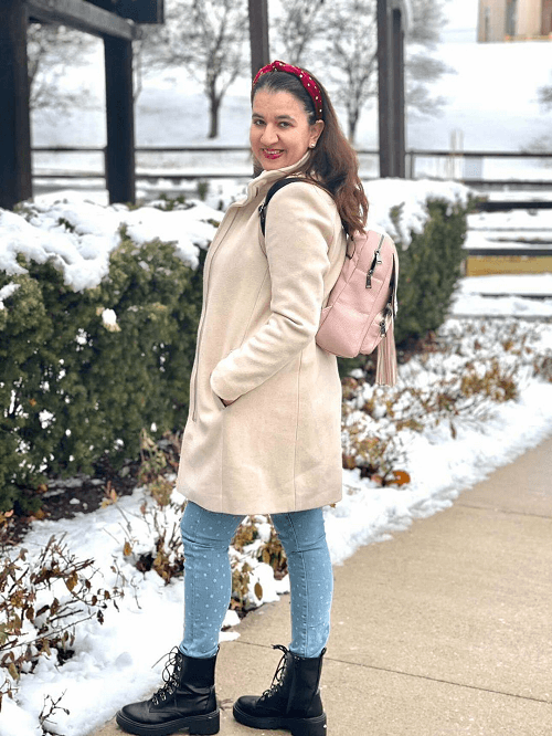 neutral colored winter coat