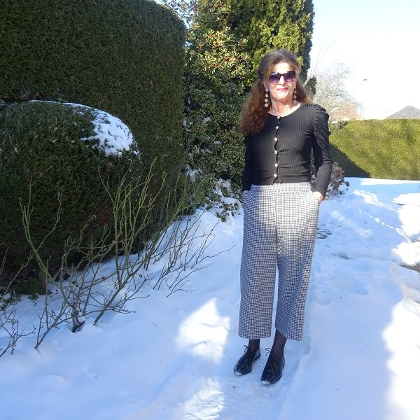 houndtooth culotte and brogues
