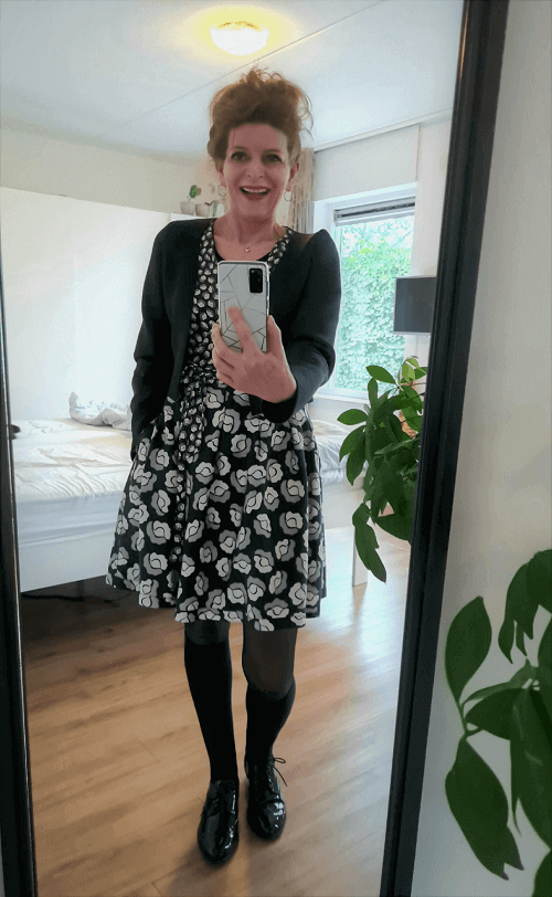 Shorter dress with knee socks and brogues