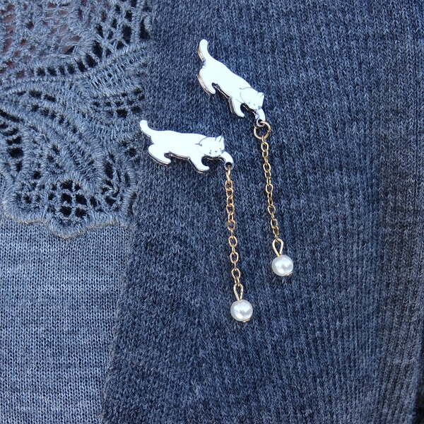 two fun cat brooches