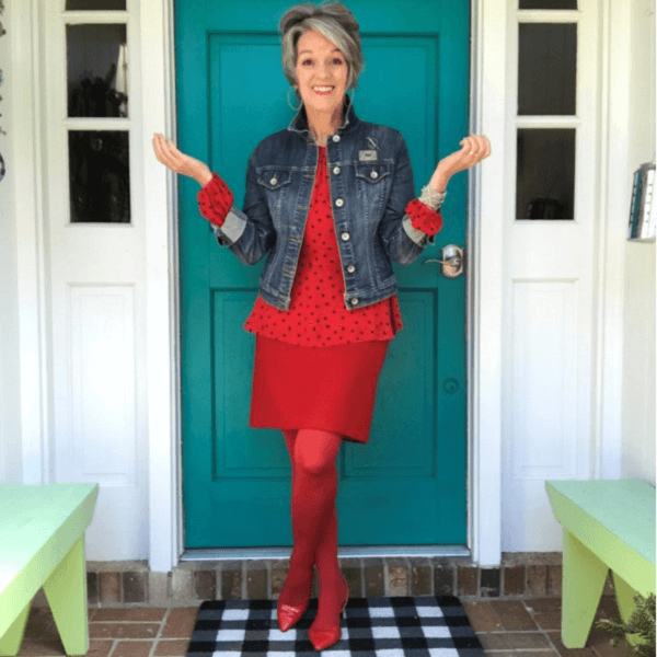 monochrome red outfit