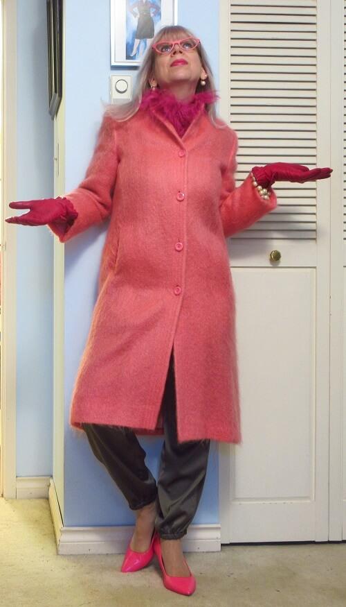 pink long woolen coat