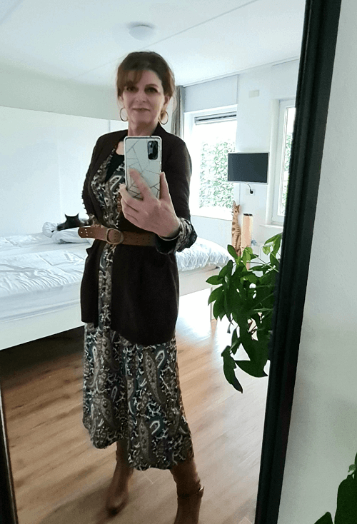 Paisley dress with brown cardigan