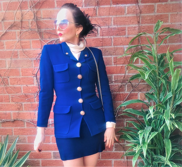 blue pre loved skirt suit