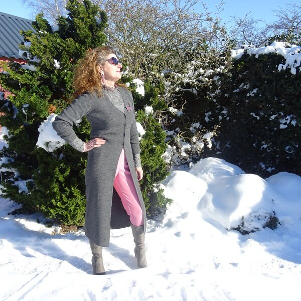 enjoying the sun in the snow