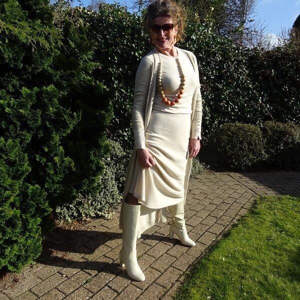 beige long cardigan