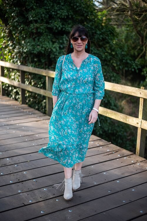 floral dress in teal