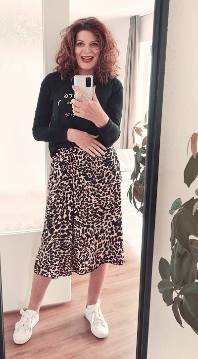 leopard skirt and sweater