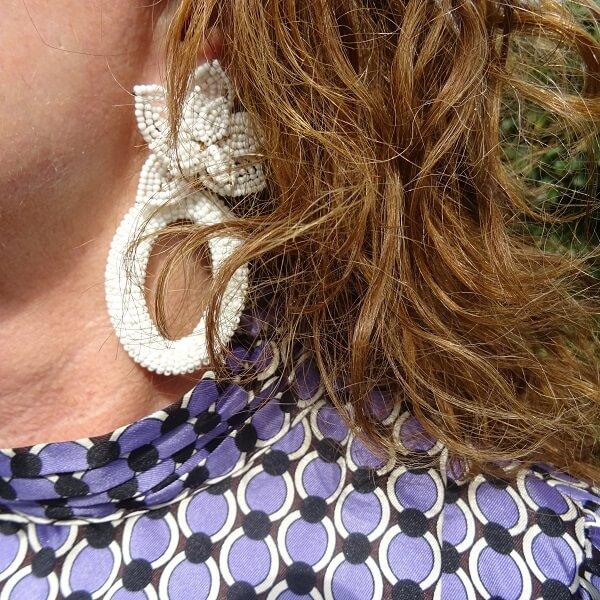 statement white earrings