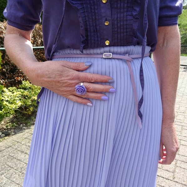 lilac statement ring and lilac small belt