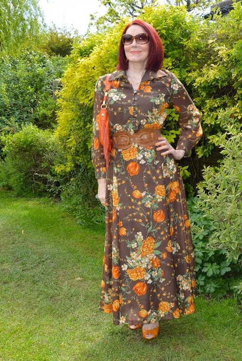 dress with flowers in brown