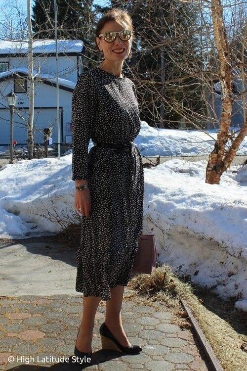 long dress worn by a fashion blogger