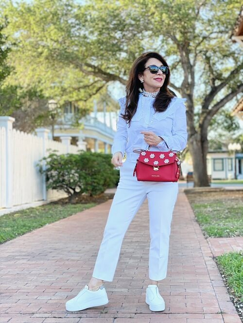 ruffled white blouse