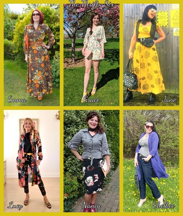collage of flowers outfits