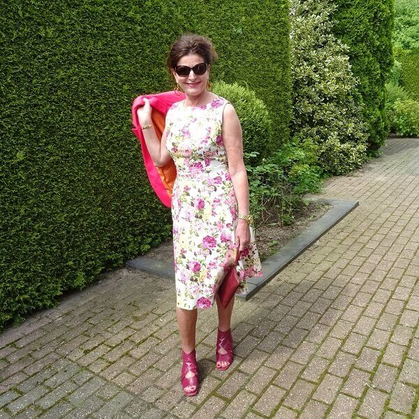 floral print dress in pink