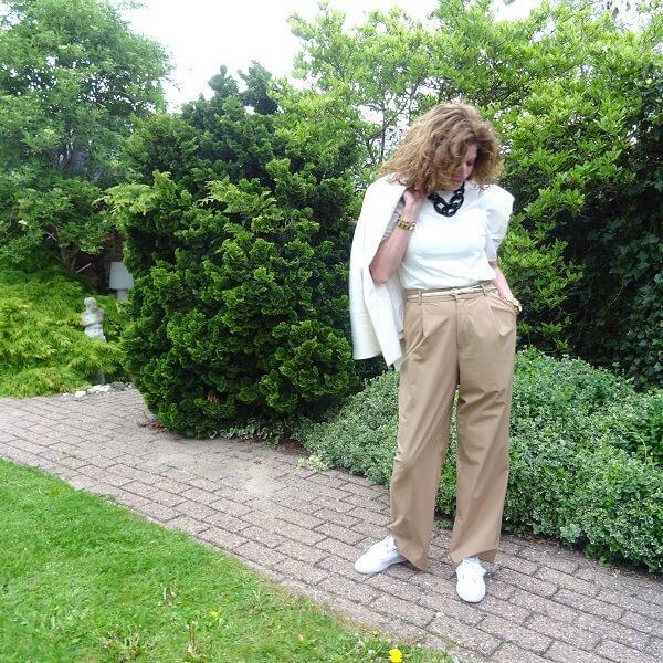 beige wide legged trousers