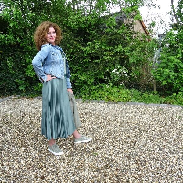 sage green pleated skirt