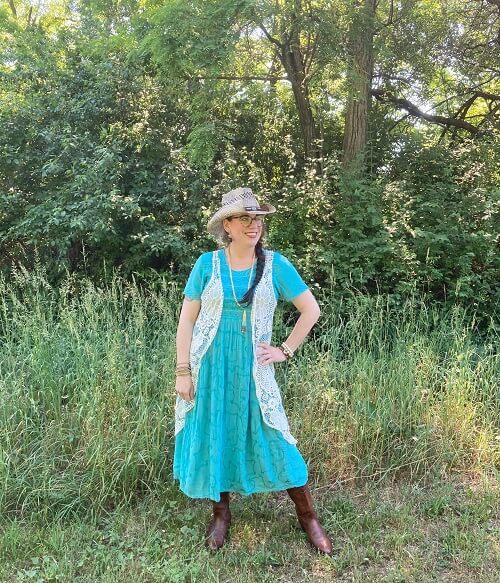 turqoise dress boho mania style