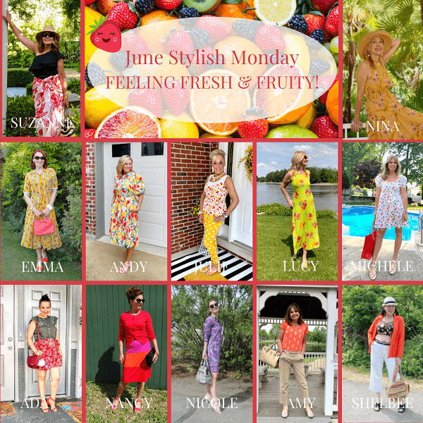 collage of fruity outfits