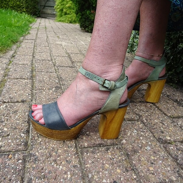blue leather and cork sandals