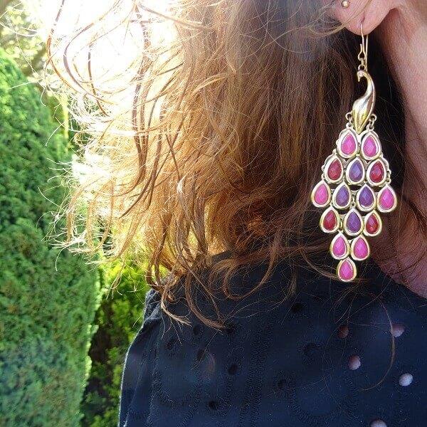 peacock pink earrings