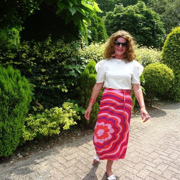 pink linen skirt