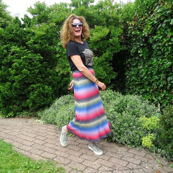 colorful skirt with green sneakers