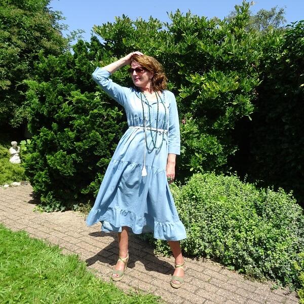 denim tiered dress