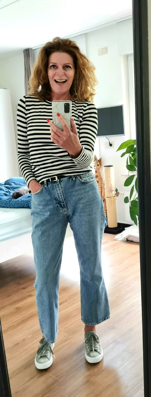 jeans and a striped top