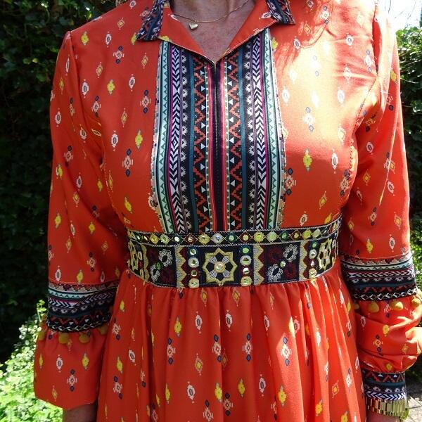 midi dress in orange