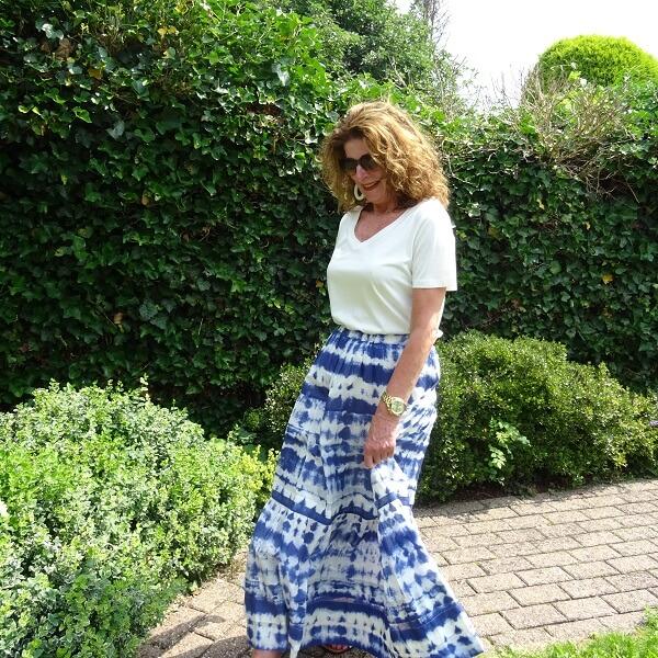 maxi tie dye skirt