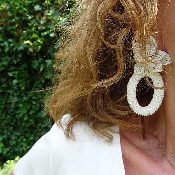white statement earrings