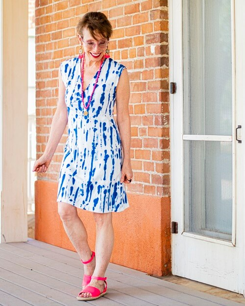 tie dye dress with pink shoes