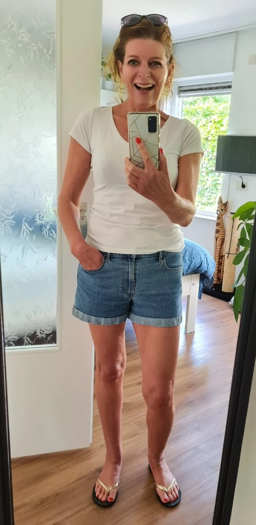 denim shorts and a white tee