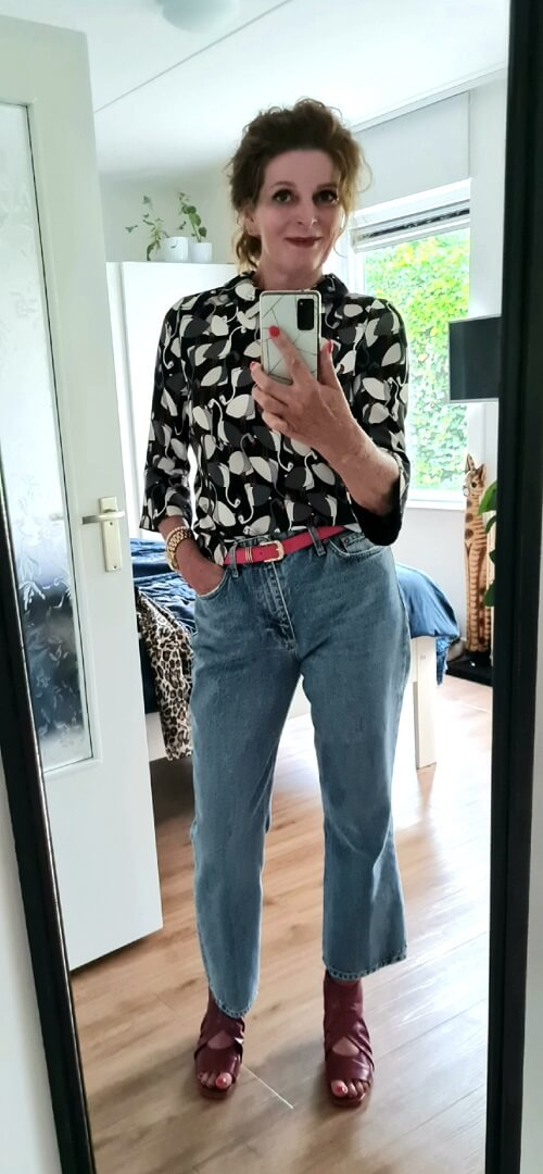 jeans and a printed top