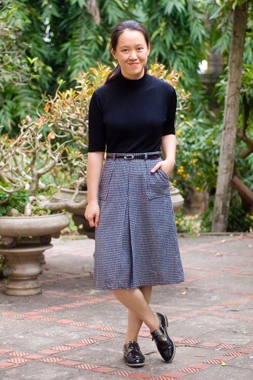 grey printed midi skirt