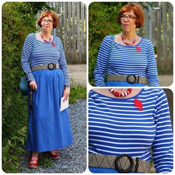 breton top and maxi blue skirt