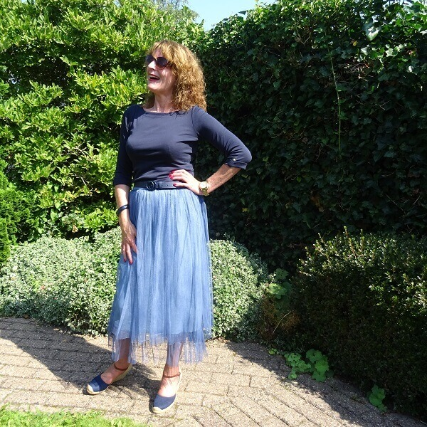 denim blue tulle skirt